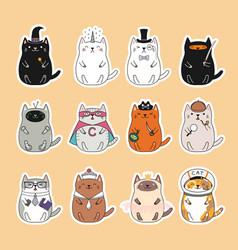 Kawaii cats stickers set vector