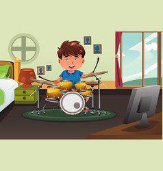 Kid practicing drum at home vector