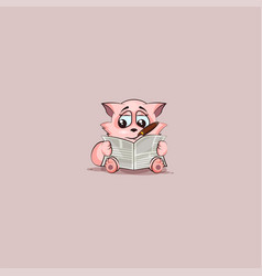 kitty with cigar reading newspaper vector image