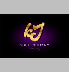 Kj k j 3d gold golden alphabet letter metal logo vector