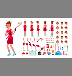 Lacrosse player female animated character vector