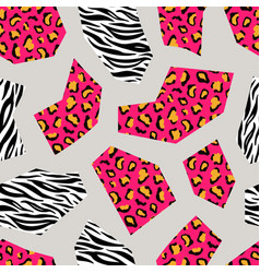 leopard and zebra seamless geometric pattern vector image