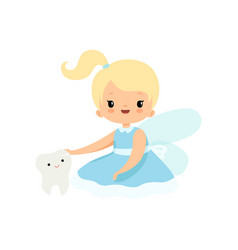 little tooth fairy sitting with batooth vector image