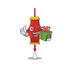 Mascot cartoon happy chinese paper lanterns vector