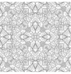Monochrome seamless pattern with mosaic floral vector