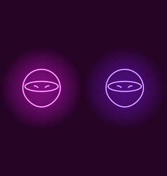 Neon ninja glowing assassin game icon vector