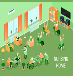 nursing home care interior isometric vector image