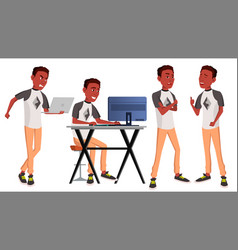 Office worker black african poses adult vector