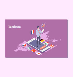 Online translator isometric flat vector