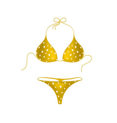 Orange bikini suit with white dots vector