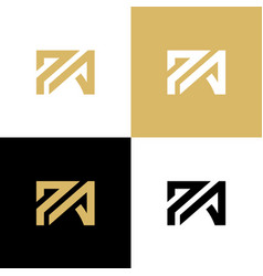 Pa p a initial letter logo design template gold vector