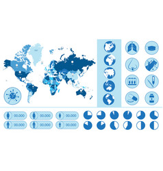 Pandemic world map icons and graphs for vector