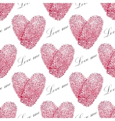 Pink fingerprint seamless pattern with heart on a vector image