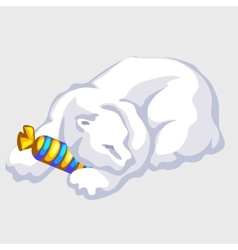 Polar bear rests with candy silhouettes vector image