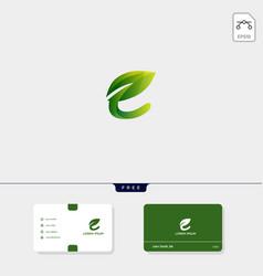Premium initial e nature leaf creative logo vector