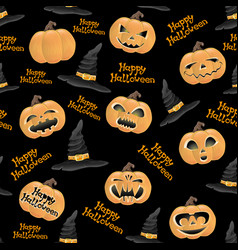 pumpkins and hats of witch vector image