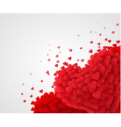 red valentine hearts on bright background love vector image