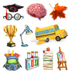 School and education 3d icon set vector