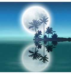 Sea with island with palm trees and full moon vector image vector image
