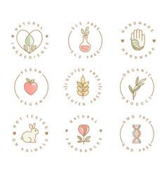 set eco product logos natural organic icons vector image
