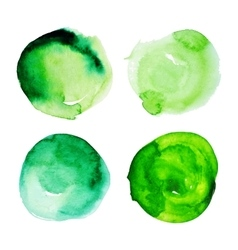 Set green watercolour stains vector