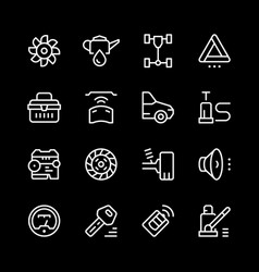 set of car related line icons vector image