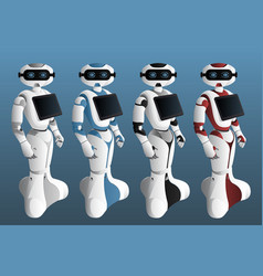 Set of realistic robots with digital tablet vector