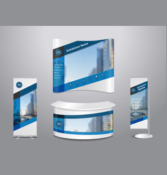 Set of trade exhibition stand with cover vector