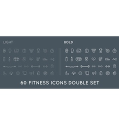 Set thin and bold fitness aerobics gym elements vector