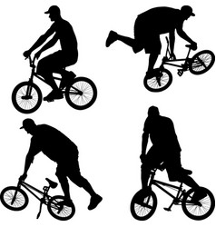 Silhouette bmx cyclist vector