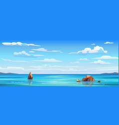 sky and sun at sea background ocean water waves vector image