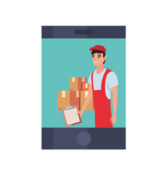 Smartphone man with clipboard package fast vector