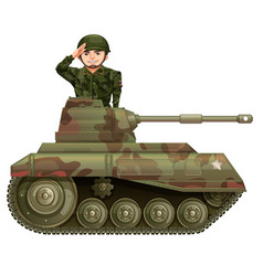 Soldier on a tank vector