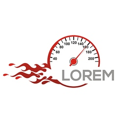 Speedometer logo automotive red race racing drag vector