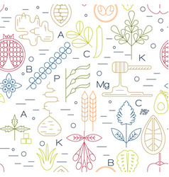 superfood line icons seamless vector image