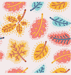 the autumn background of falling leaves vector image