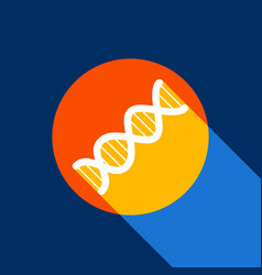 The dna sign white icon on tangelo circle vector