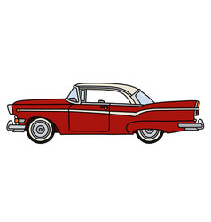 The old red american coupe vector