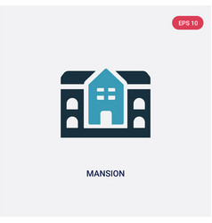Two color mansion icon from real estate concept vector