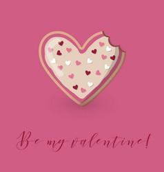 Valentine card with heart shape bitten cookie vector
