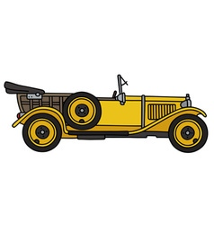 Vintage yellow open car vector