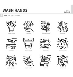 wash hands icon set vector image