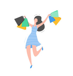 woman with shopping bags and presents person vector image