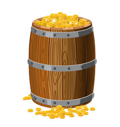 wooden barrel with treasures gold coins with vector image