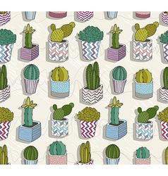 Cute seamless cactus patter vector