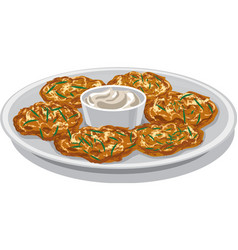 potato pancakes with sauce vector image vector image