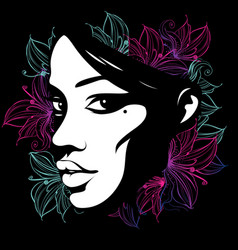 silhouette of a female face decorated with flowers vector image
