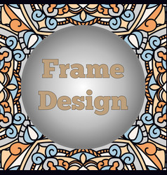a frame with a beautiful oriental ornament with a vector image