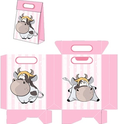 A small cow Handbag packages pattern vector image vector image