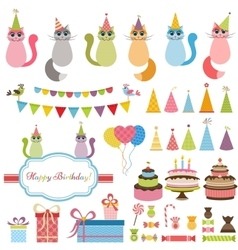 Birthday party elements and cats vector image vector image